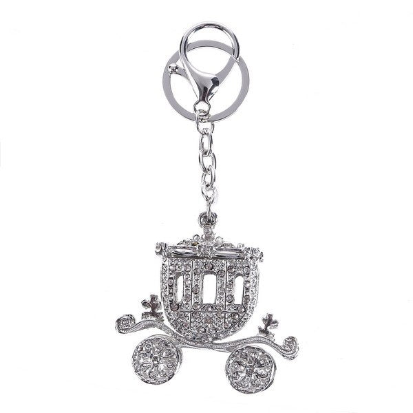 Silver Carriage Crystal Bag Charm Key Chain