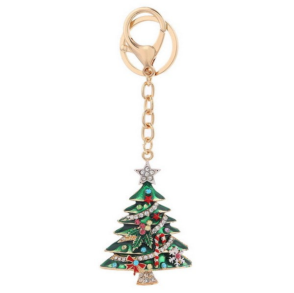 Christmas Tree Crystal Bag Charm Key Chain | Putti Fine Fashions