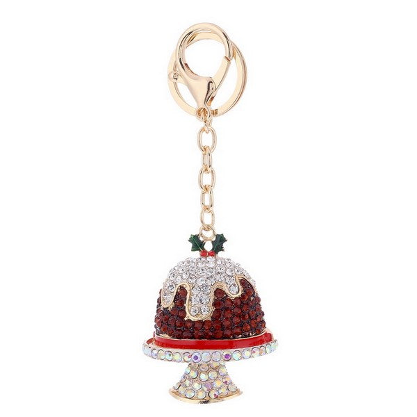 Christmas Pudding Crystal Bag Charm Key Chain