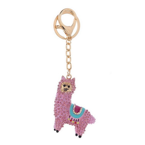 Pink Llama Crystal Bag Charm Key Chain