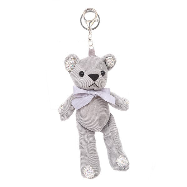 Grey Teddy Bear Bag Charm Key Chain