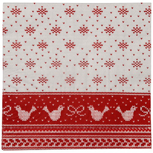 "Red & White ""Knitted Noel"" Dinner Napkin -  Party Supplies - Talking Tables - Putti Fine Furnishings Toronto Canada - 1"