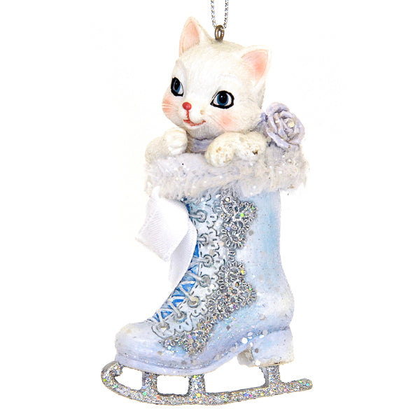 Kurt Adler Frosted Kingdom Cat in Skate Ornament  | Putti Christmas