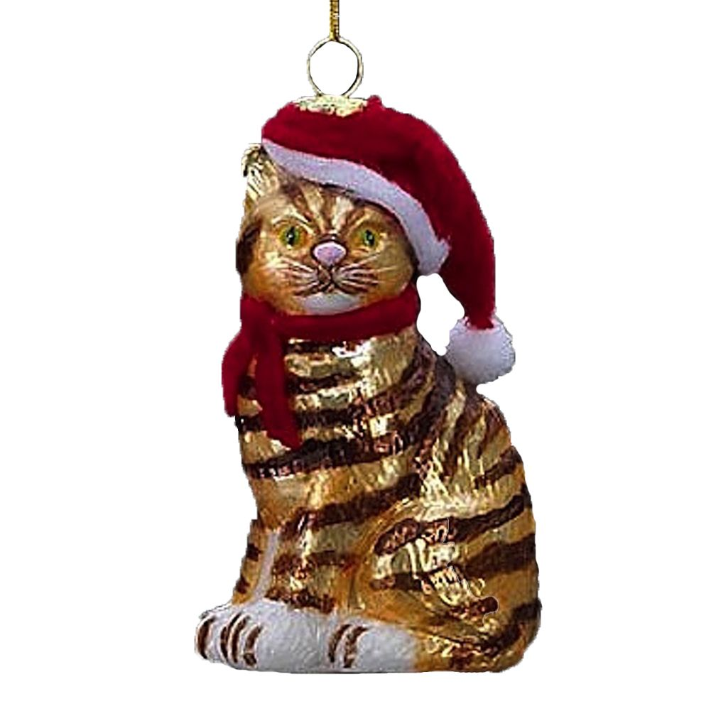 Kurt Adler Ginger Cat with Santa Hat Glass Ornament