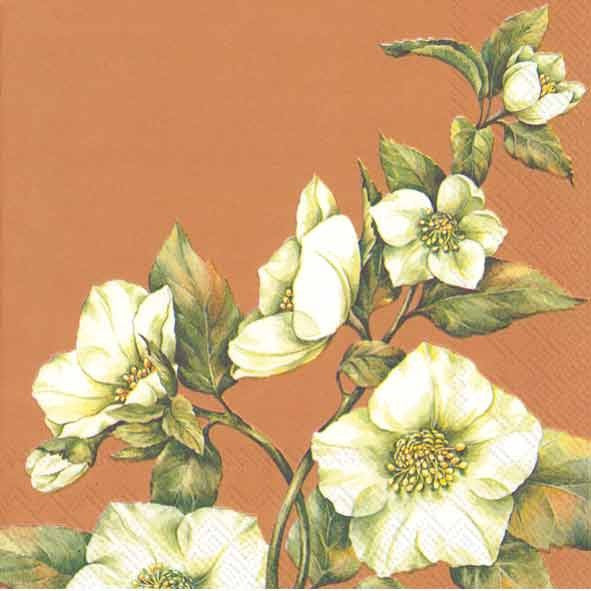 Christmas Rose Copper - Lunch Napkin -  Party Supplies - Carsim Trading - Putti Fine Furnishings Toronto Canada