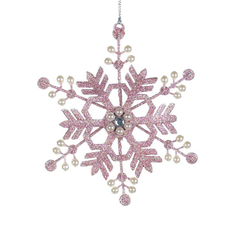 Pink Snowflake with Pearls