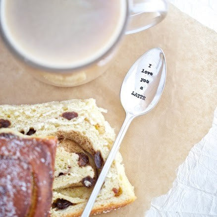 """I Love you a Latte"" Vintage Tea Spoon -  Flatware - La De Da Living - Putti Fine Furnishings Toronto Canada - 1"