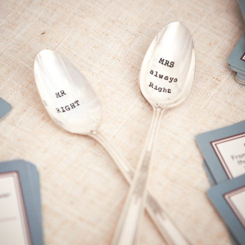 """Mr Right / Mrs Always Wright"" Tea Spoon Set"