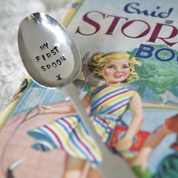 """My First spoon"" Vintage Tea Spoon -  Flatware - La De Da Living - Putti Fine Furnishings Toronto Canada - 1"