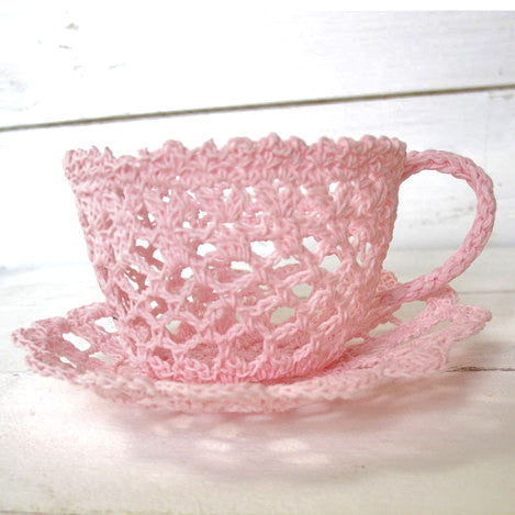 Miss Rose Sister Violet Crochet Tea Cup-Miss Rose Sister Violet-Pink-Putti Fine Furnishings