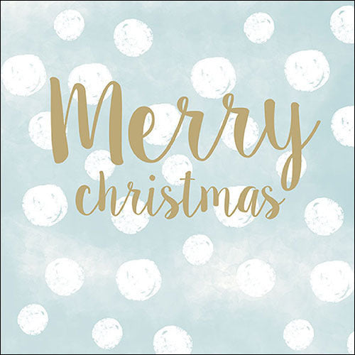 """Merry Christmas"" Snowballs Blue Christmas Paper Napkins 