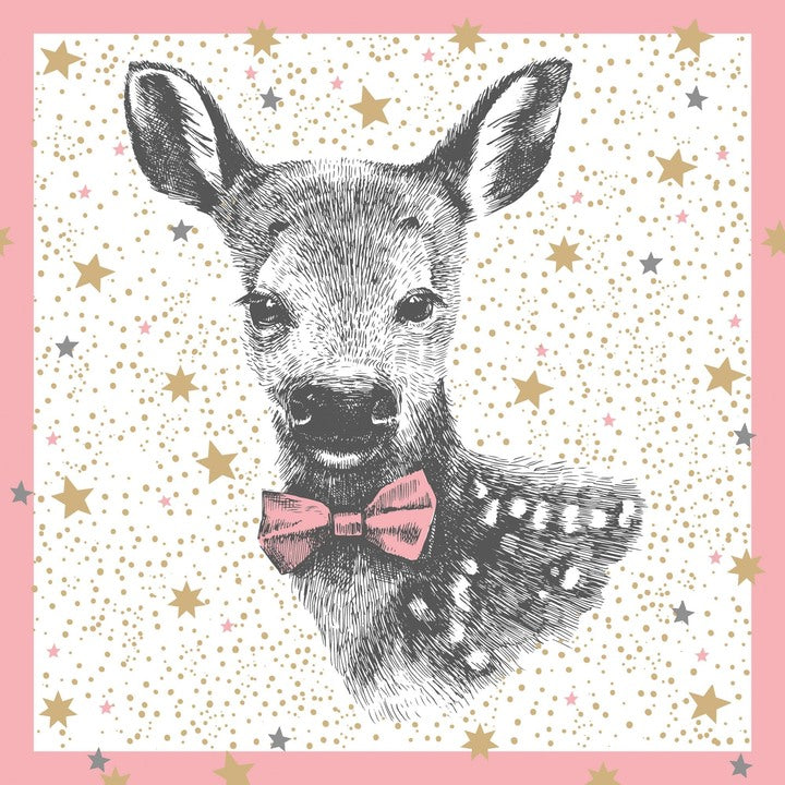 Winter Fawn Lunch Napkin - Pink