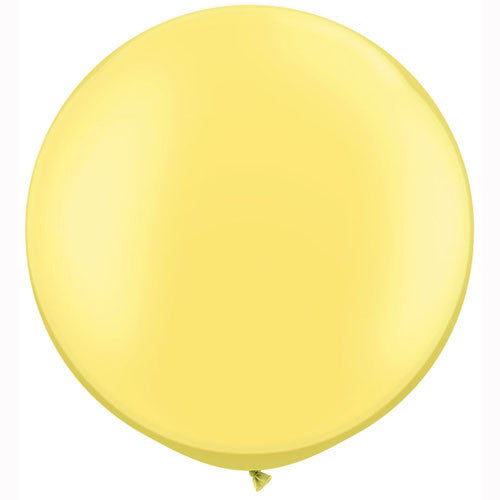 "Giant Round Balloon 30""- Pastel Pearlized Yellow Chiffon -  Party Supplies - Surprize Enterprize - Putti Fine Furnishings Toronto Canada - 1"
