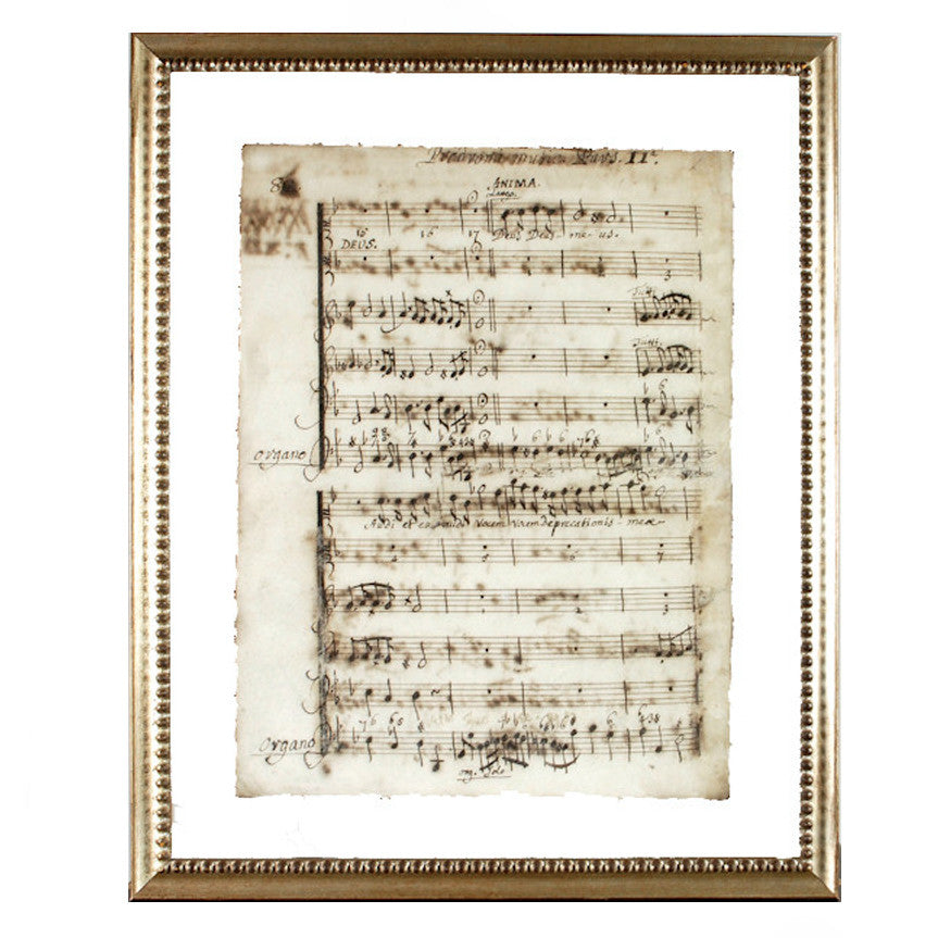 """Latin Sheet Music"" Framed Print-Manuscripts-Cel Arts Studio-Manuscript Page 82 -made to order 2 weeks-Putti Fine Furnishings"