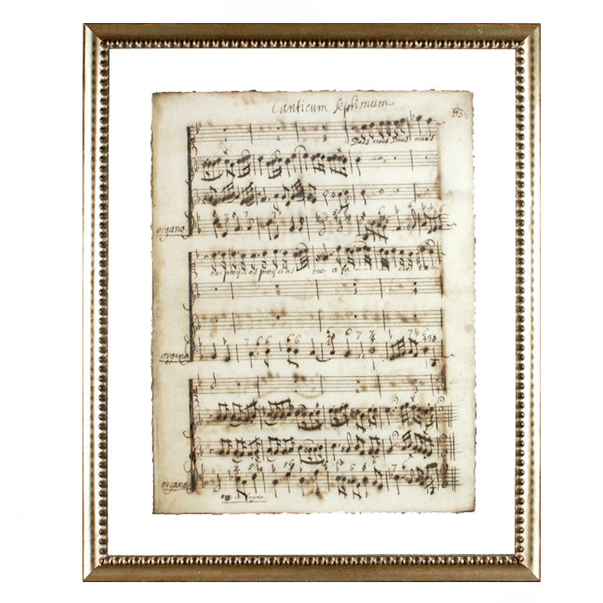 """Latin Sheet Music"" Framed Print-Manuscripts-Cel Arts Studio-Manuscript Page 83 - made to order 2 weeks-Putti Fine Furnishings"