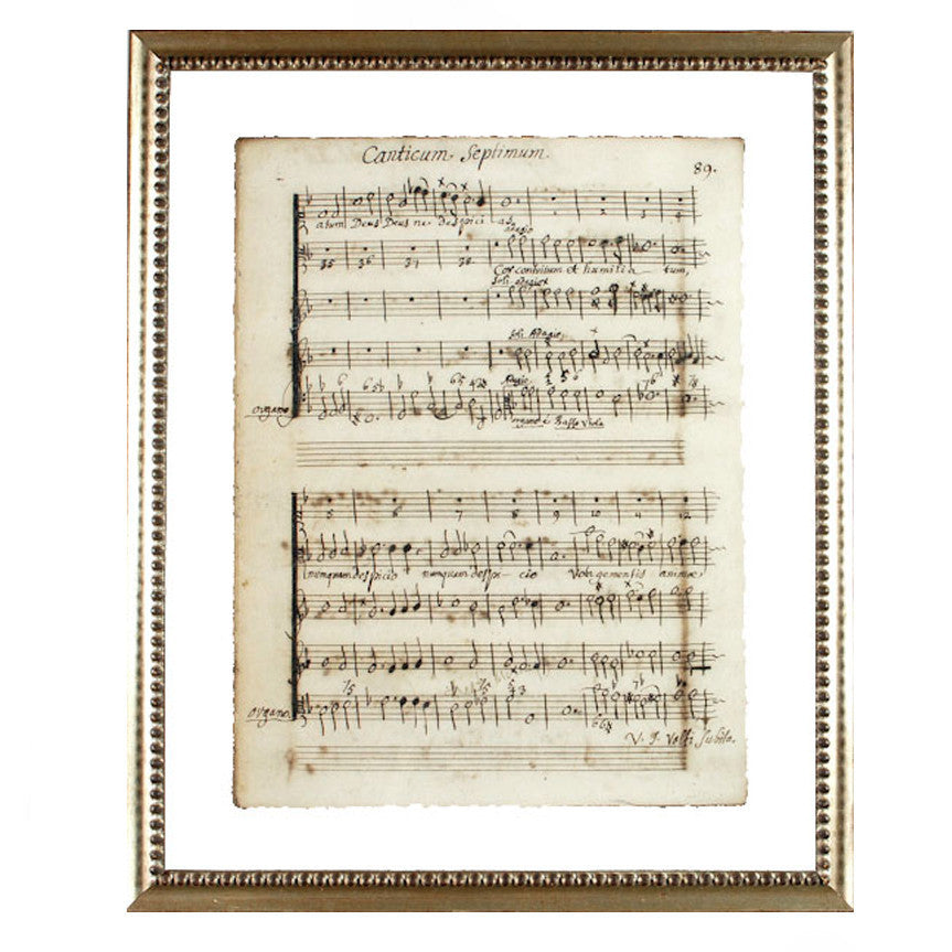 """Latin Sheet Music"" Framed Print-Manuscripts-Cel Arts Studio-Title Page - made to order 2 weeks-Putti Fine Furnishings"