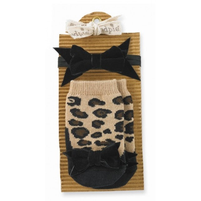 Mud Pie leopard Socks and Bow Headband, MP-Mud Pie, Putti Fine Furnishings