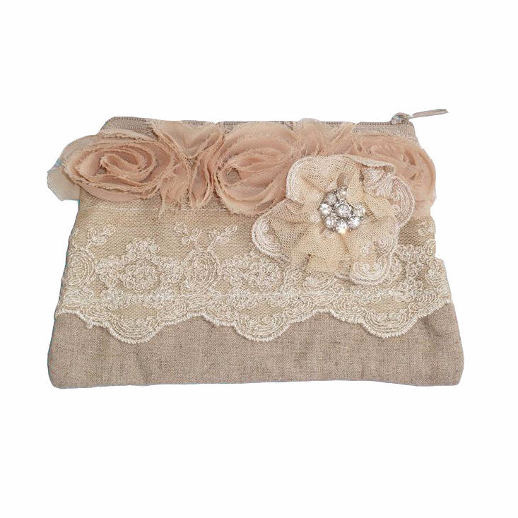 Miss Rose Sister Violet Linen & Lace Zippered Bag, MRSV-Miss Rose Sister Violet, Putti Fine Furnishings