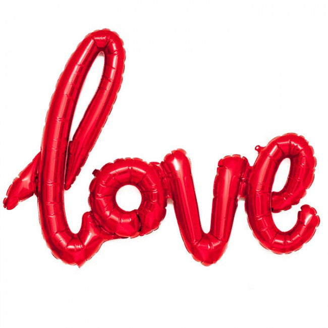 "Red Foil ""Love"" Script Balloon -  Party Supplies - Surprize Enterprize - Putti Fine Furnishings Toronto Canada"