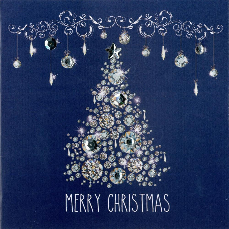 "x""Merry Christmas"" Blue Boxed Christmas Greeting Cards  