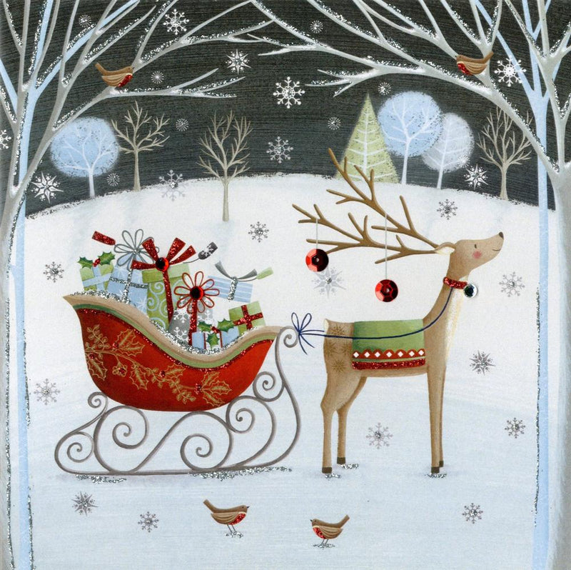 Reindeer and Sleigh Luxury Boxed Christmas Greeting Cards | Putti Christmas