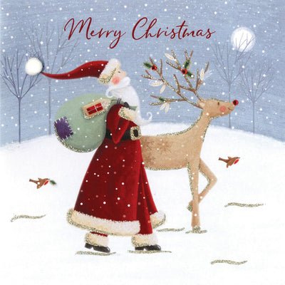 """Merry Christmas"" Santa and Reindeer Boxed Christmas Greeting Cards"