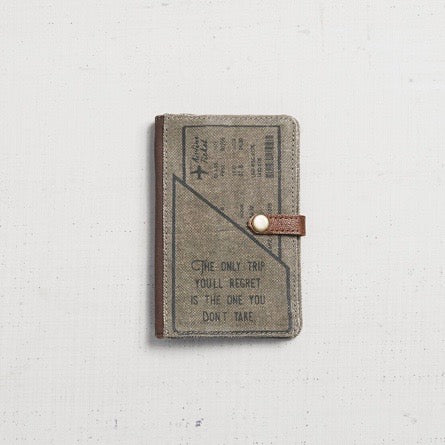 Recycled Canvas Passport Cover - Trip Regrets