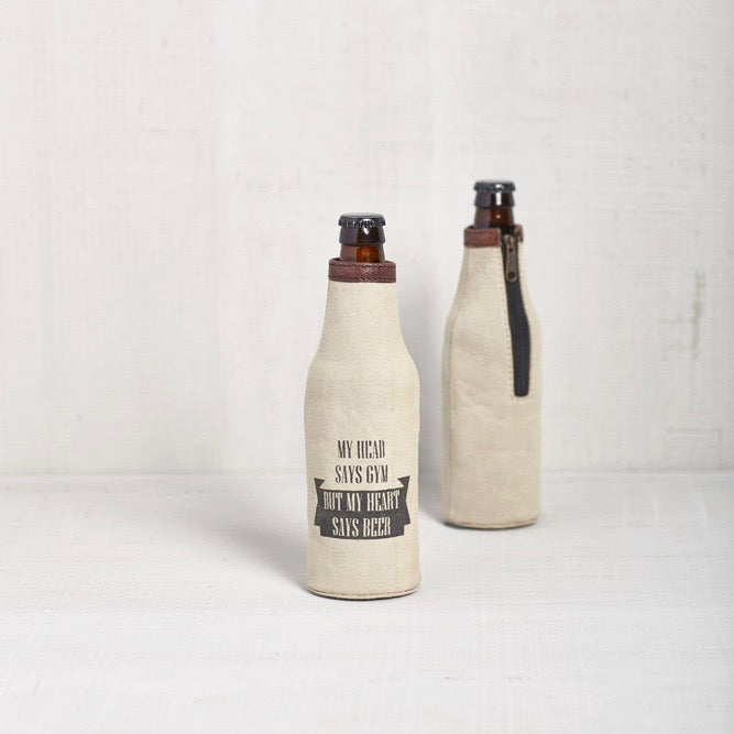 Recycled Canvas Bottle Koozie - My Heart Says Beer