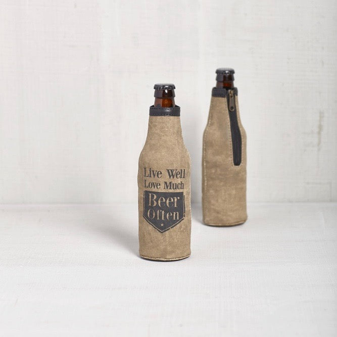 Recycled Canvas Bottle Koozie - Live Well