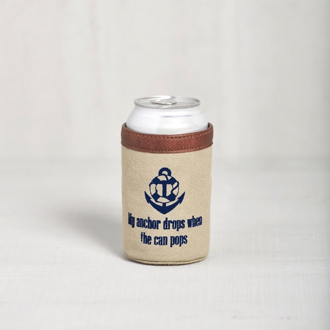 Recycled Canvas Can Koozie - Anchor Drops