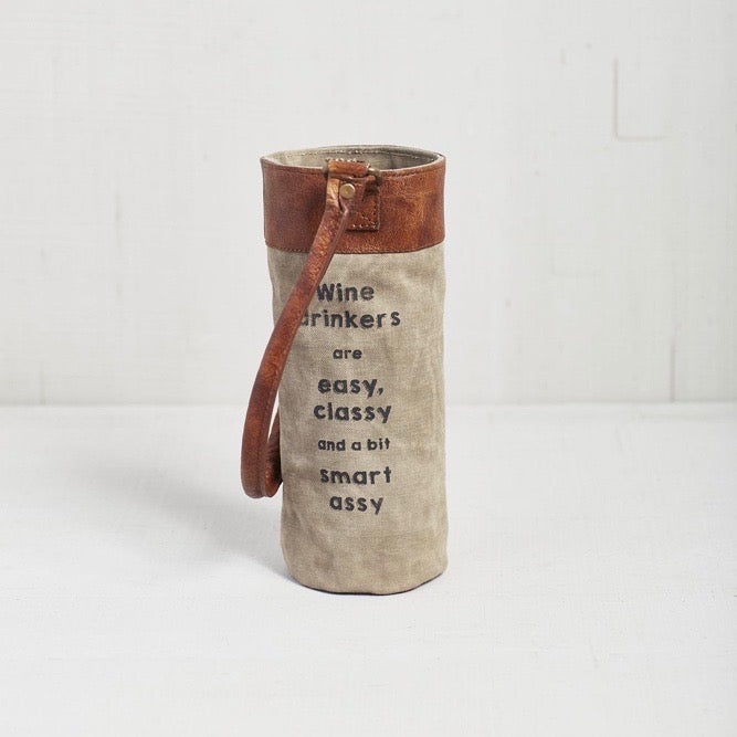 Recycled Canvas Wine Bottle Bag - Sassy