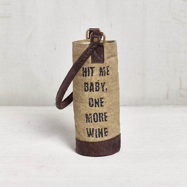 Recycled Canvas Wine Bottle Bag - Hit Me Baby