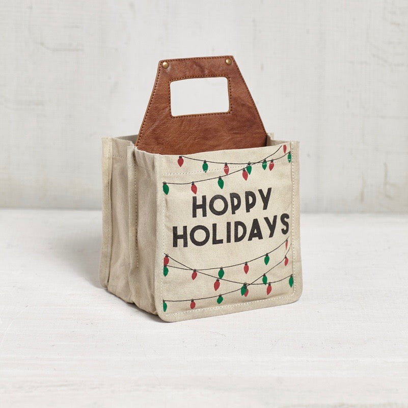 Recycled Canvas Beer Caddy - Hoppy Holidays
