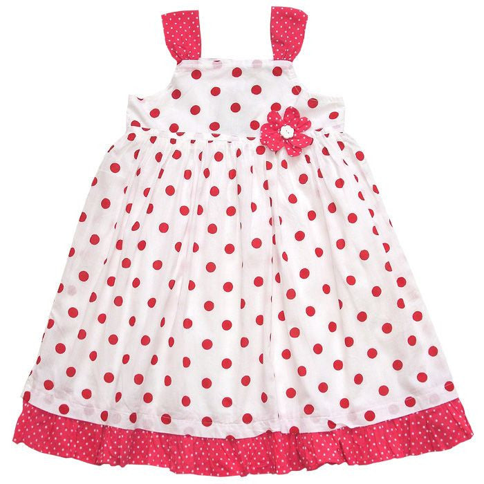 """Cecelia"" Red and White Polka Dot Dress - 1 to 2 years Children's Clothing - Powell Craft Uk - Putti Fine Furnishings Toronto Canada"