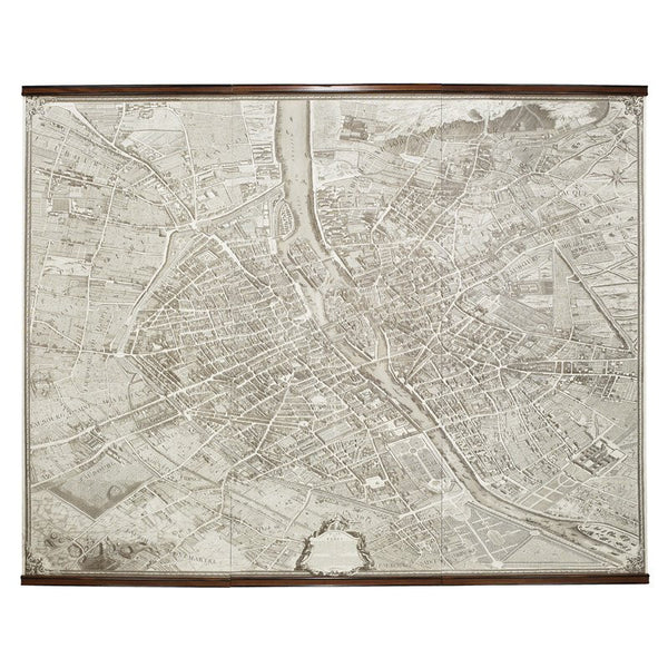 Paris Scroll Map 1739 -  Maps - Authentic Models - Putti Fine Furnishings Toronto Canada