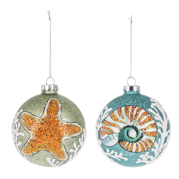 Starfish Glass Ball Ornament  | Putti Celebrations Canada
