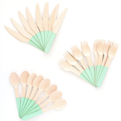 Wooden Cutlery Set - Mint -  Party Supplies - Meri Meri UK - Putti Fine Furnishings Toronto Canada - 3