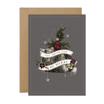 """Eat Drink & Be Merry"" Pudding Christmas Cards Pack"