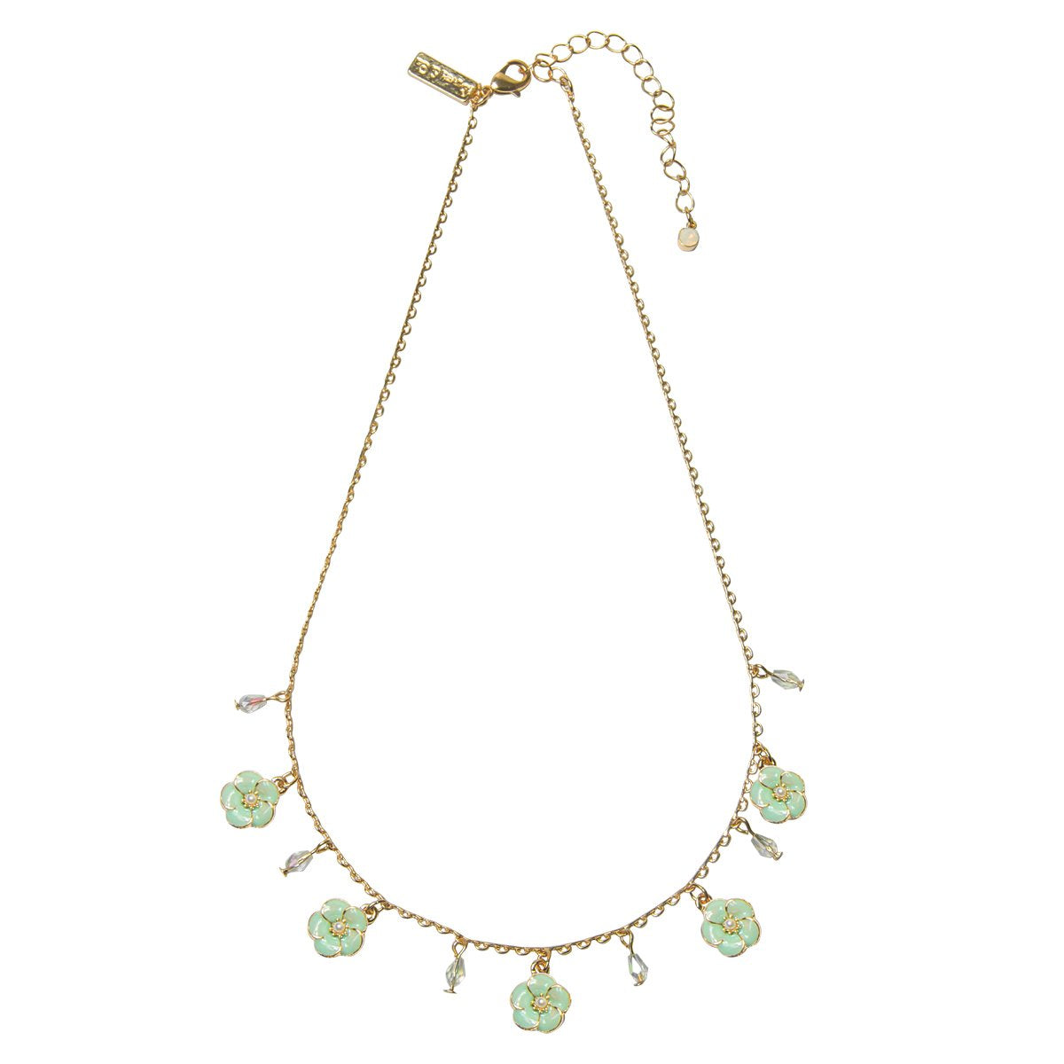Lovett & Co. Small Rose Necklace in Mint  Enamel | Putti Fine Fashions