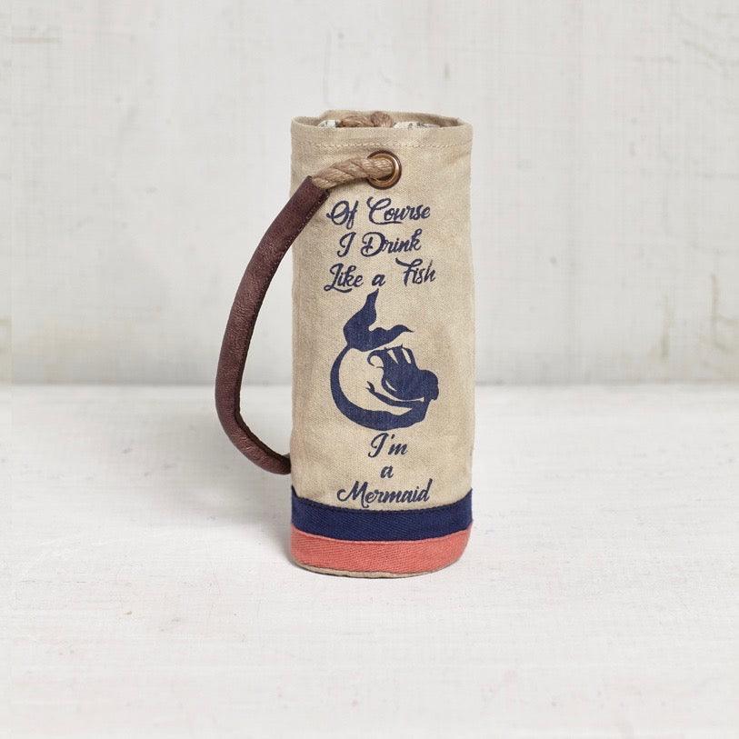 Recycled Canvas Wine Bottle Bag - Mermaid