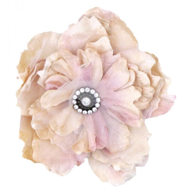 Miss Rose Sister Violet Cabbage Rose Diamante Clip - Pink, MRSV-Miss Rose Sister Violet, Putti Fine Furnishings