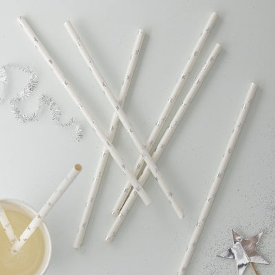 Metallic Silver Star - Paper Straws, GR-Ginger Ray UK, Putti Fine Furnishings