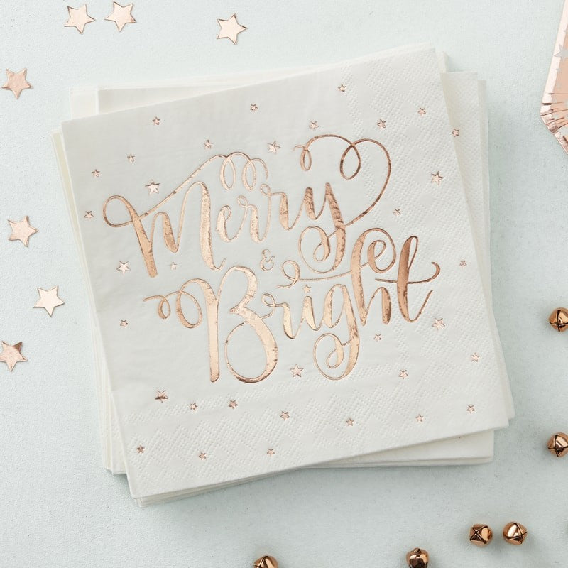 """Merry & Bright"" Rose Gold Paper Napkins, GR-Ginger Ray UK, Putti Fine Furnishings"