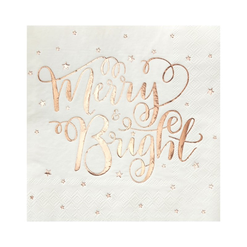 """Merry & Bright"" Rose Gold Paper Napkins"
