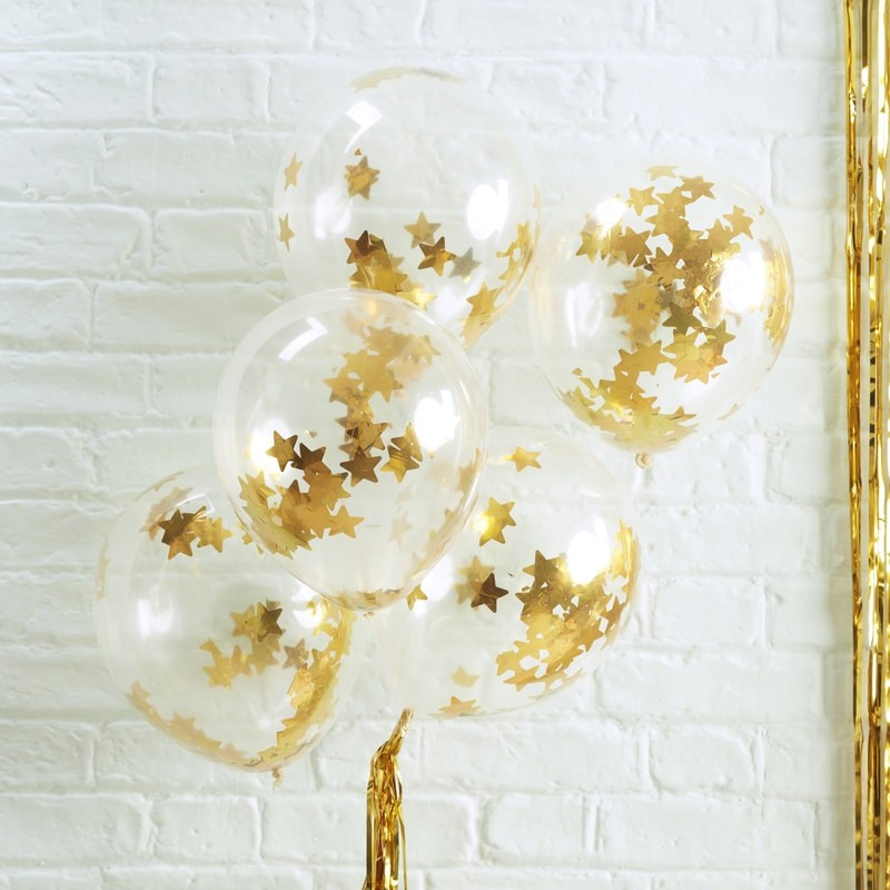 Gold Star Confetti Filled Balloons