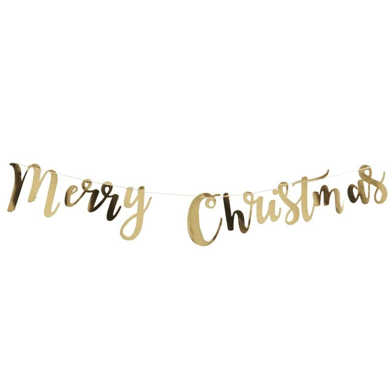 "Gold Foil ""Merry Christmas"" Garland, GR-Ginger Ray UK, Putti Fine Furnishings"