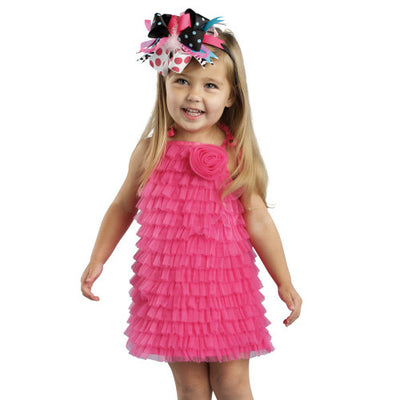 Hot Pink Chiffon Ruffle Tunic Dress, MP-Mud Pie, Putti Fine Furnishings