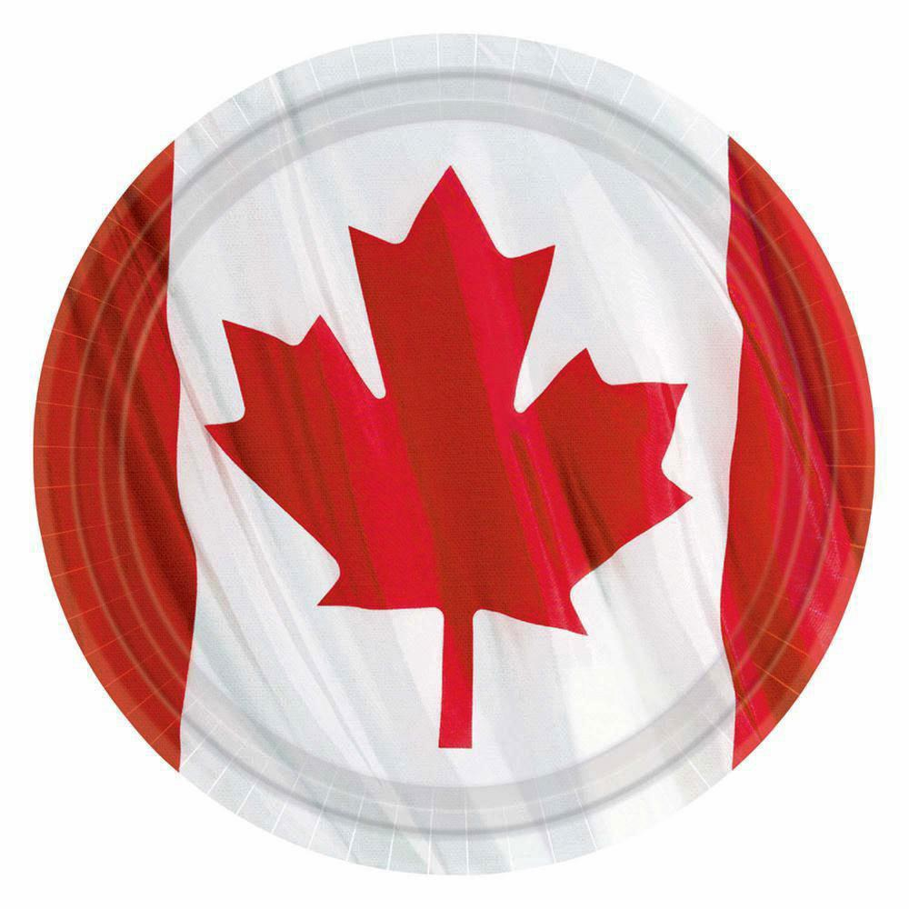 Waiving Canadian Flag Paper Plates