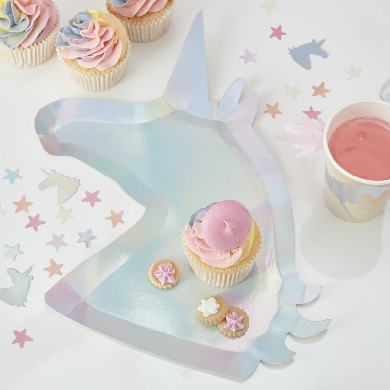 """Make a Wish"" Iridescent Silver Unicorn Shaped Paper Plates"