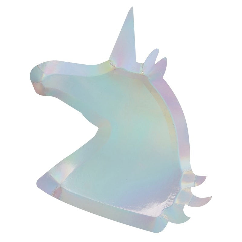"""Make a Wish"" Iridescent Silver Unicorn Shaped Paper Plates, GR-Ginger Ray UK, Putti Fine Furnishings"